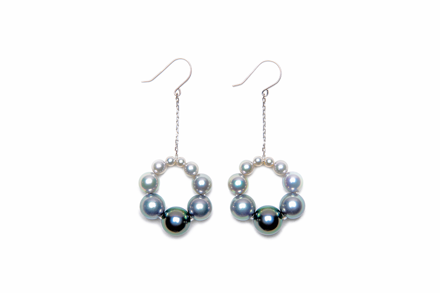 Color Gradation Pearl Loop Earrings