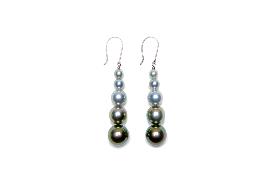 Color Gradation Pearl Stick Earrings